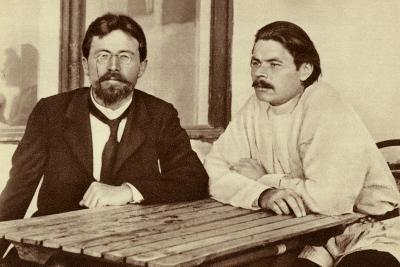 Russian Writers Anton Chekhov and Maxim Gorky, Yalta, Russia, 1900
