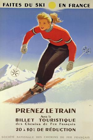 Poster Advertising 'Skiing in France' and the French National Railways, 1957