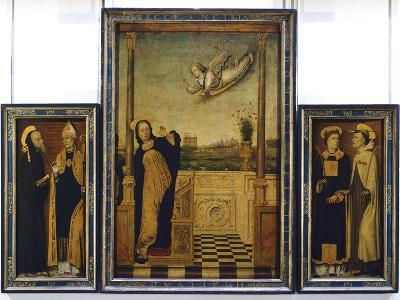 Altarpiece of Annunciation with St Benedict, St Augustine, St Stephen and St Angelo