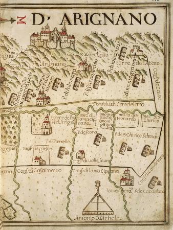 Map of Arignano, Italy, from the Atlas Atlante Delle Locazioni, 1687-1697