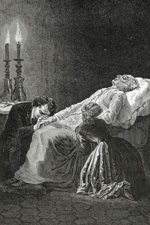 Mort De Jean Valjean Entre Cosette Et Marius - Illustration from Les Misérables,19th Century