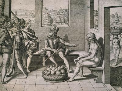 Spanish Conquerors Meeting Native Women in America, 1590