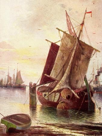 Künstler Herford, J., Segelboote Im Hafen, Dampfer
