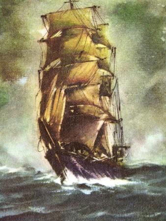 Künstler Segelschiff Auf Hoher See, Sturm, Dunkel
