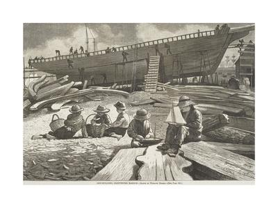 "Ship Building, Gloucester Harbor, Published in ""Harper's Weekly"", October 11, 1873"