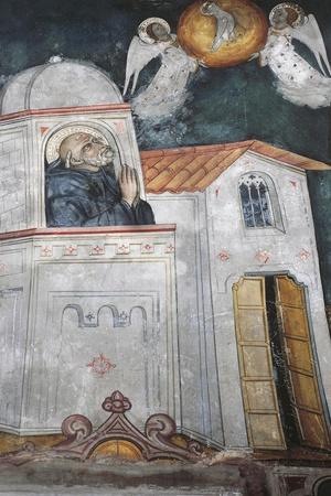 Fresco in Upper Church of Sacro Speco Monastery, Subiaco, Italy
