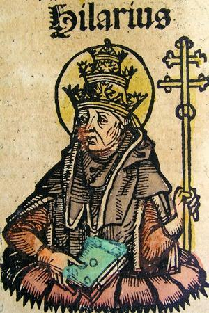 Portrait of Pope Hilarius, Published in the Nuremberg Chronicle, 1493