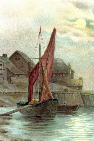 Passepartout Angelegtes Segelboot Beim Verladen