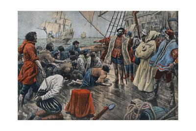 Illustration of Ferdinand De Magellan Quelling a Mutiny