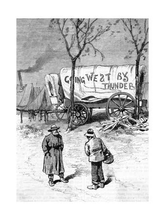 Illust.; Camp of Men Going West; Wagon