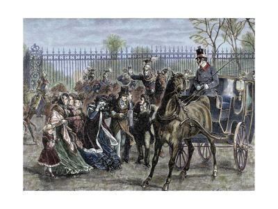 French Liberal Revolution (February 1848). Louis Philippe and His Family out of the Tuileries Palac