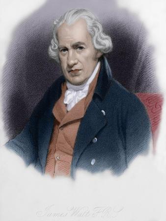 James Watt (1736-1819). Scottish Inventor. Colored Engraving.