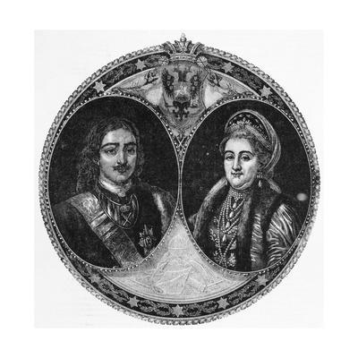 Portrait Illustration of Peter the Great and Catherine I the Great