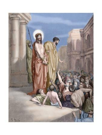 Jesus Presented to the People. Engraving. 19Th Century. Colored.