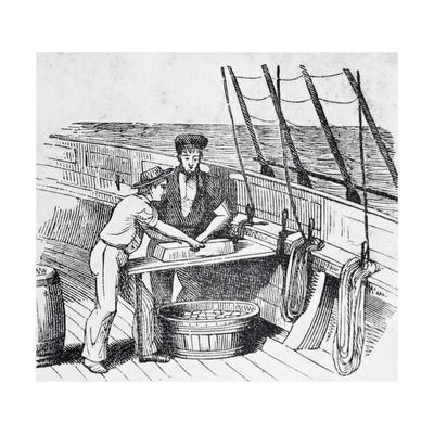 Illustration of Men Working on Whaling Ship
