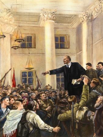 Vladimir Lenin Addressing Military