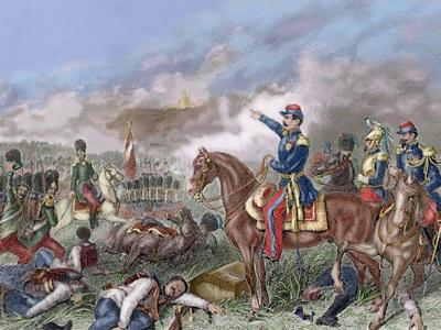 Napoleon III in the Battle of Solferino (1859). Colored Engraving.