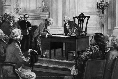 Washington Watching Man Sign Constitution