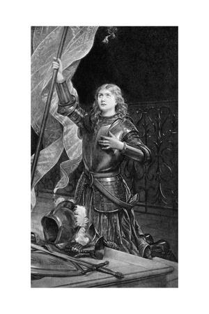 Print of Joan of Arc Kneeling with Flag