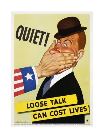 Quiet! Loose Talk Can Cost Lives Poster by Holcomb