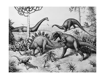 Painting of Dinosaurs by Ernest Untermann