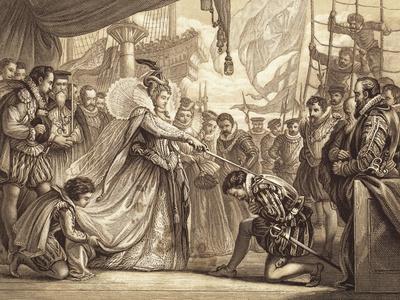 Illustration of Queen Elizabeth Knighting Sir Francis Drake