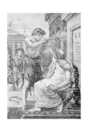Woodcut after Julius Caesar Refusing Imperial Crown by Tadema