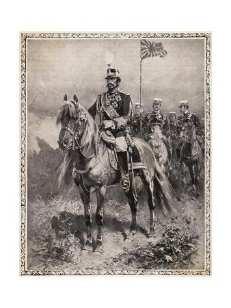 Portrait of Emperor Mutsuhito on Horseback