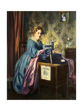 Young Woman Using Early Sewing Machine