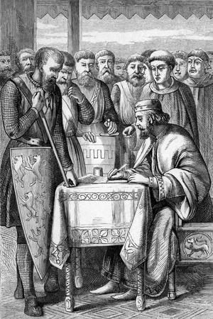 Illustration of King John Signing the Magna Carta