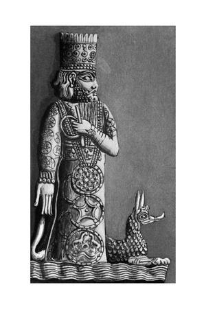 Illustration of Marduk, a Babylonian God, with a Dragon