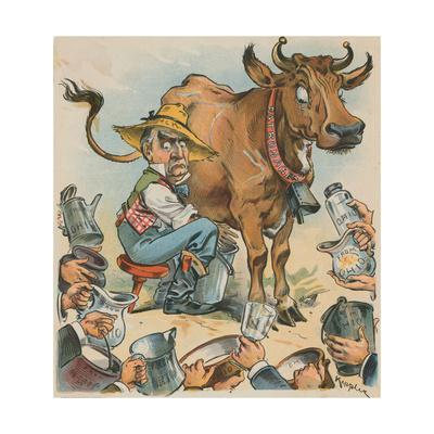 Political Cartoon of Men Waiting for Milk from Cow by Keppler