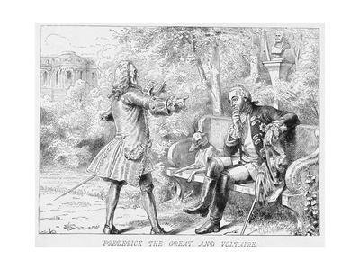 Frederick the Great and Voltaire Print