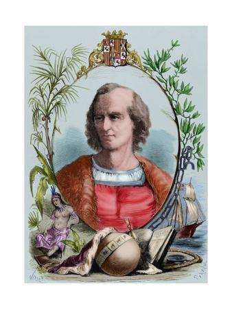 Christopher Columbus (1451-1506). Engraving. Colored.