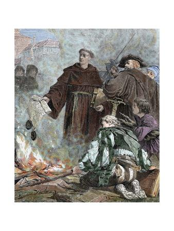 Martin Luther (1483-1546) Burning the Papal Bull Exsurge Domine of Pope Leo X.