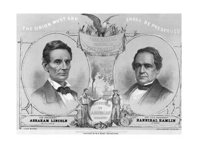 Election Poster with Abraham Lincoln and Hannibal Hamlin