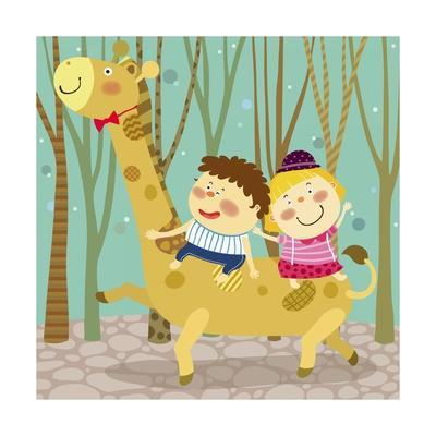 The Image of Children Riding on the Giraffe