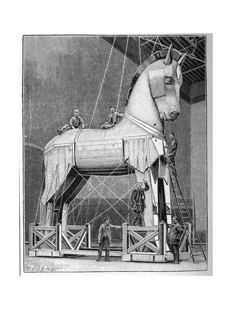 Illustration of Set Builders Working on a Trojan Horse