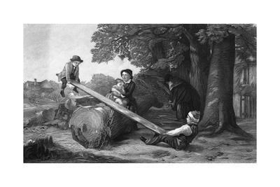 Children Playing on See-Saw