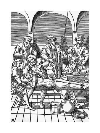 Illustration Showing Antwerp Officials Using Torture Tactics on Suspect