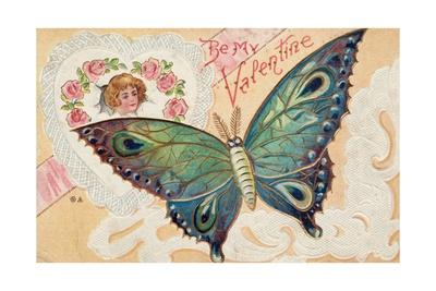 Be My Valentine Postcard with Butterfly