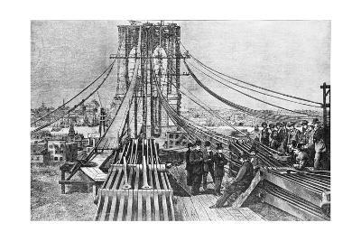 Engraving of Brooklyn Bridge under Const
