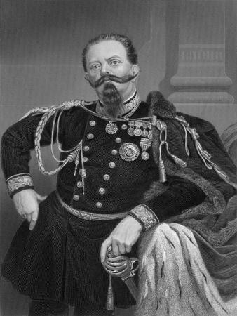 Illustration of King Victor Emmanuel II Poised in Uniform