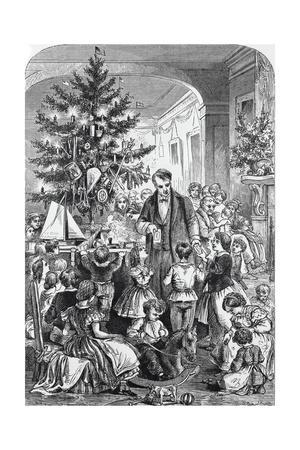 Illustration of Family and Friends Exchanging Gifts