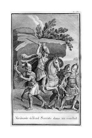 Illustration of Alcibiades Defending Socrates in a Fight