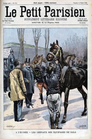 Illustration of Emile Loubet Examining Horses