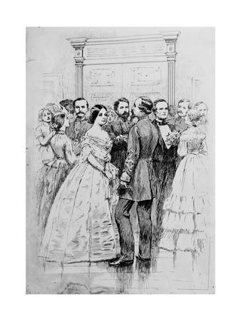 Engraving of Jefferson Davis and Wife Greeting Guests