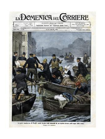 Illustration of the Rescue of Invalids during a Paris Flood