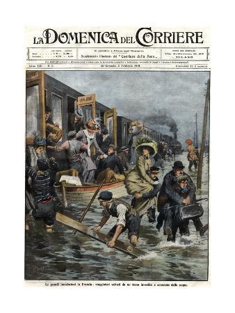 Illustration of Railroad Passengers Being Helped during a Paris Flood