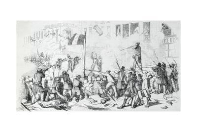 Illustration of Soldiers and Rebels Fighting in Street
